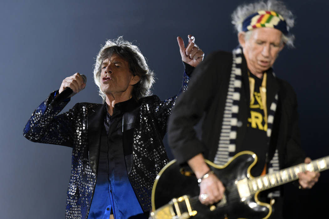Singer Mick Jagger, left, and guitar player Keith Richards, of the British band 'The Rolling Stones' perform on stage during a concert of their European tour 'Stones - No Filter' in Zurich, Switze ...