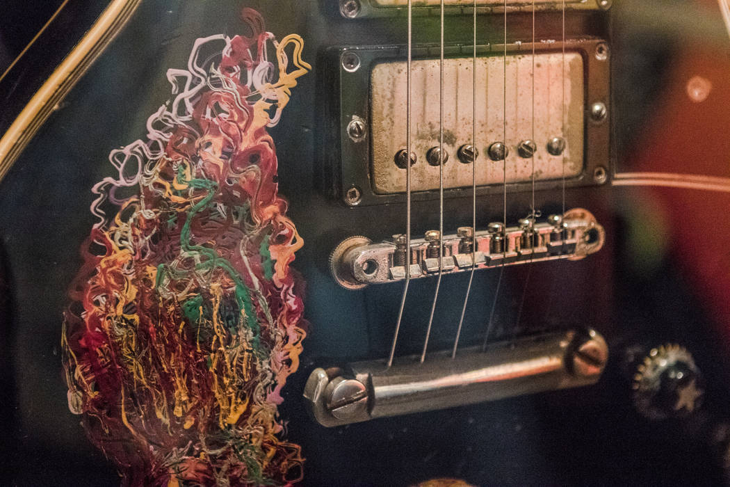 A hand-painted guitar of Keith Richards at the exhibit at the Palazzo hotel-casino on Wednesday, Sept. 20, 2017, in Las Vegas. Morgan Lieberman Las Vegas Review-Journal