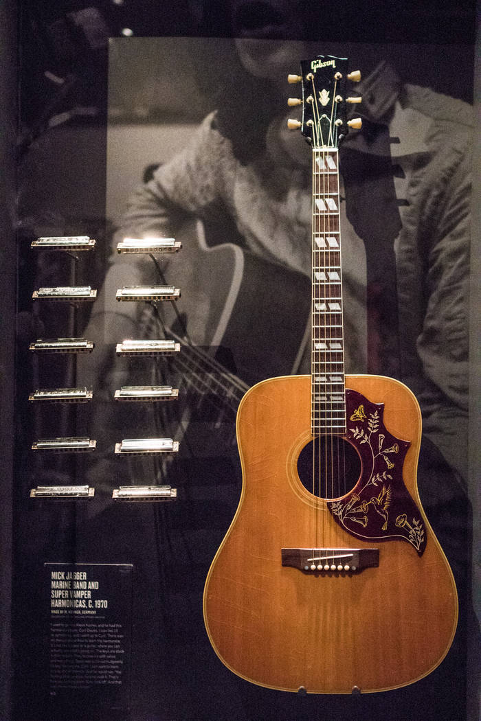 A guitar of Keith Richards at the exhibit at the Palazzo hotel-casino on Wednesday, Sept. 20, 2017, in Las Vegas. Morgan Lieberman Las Vegas Review-Journal