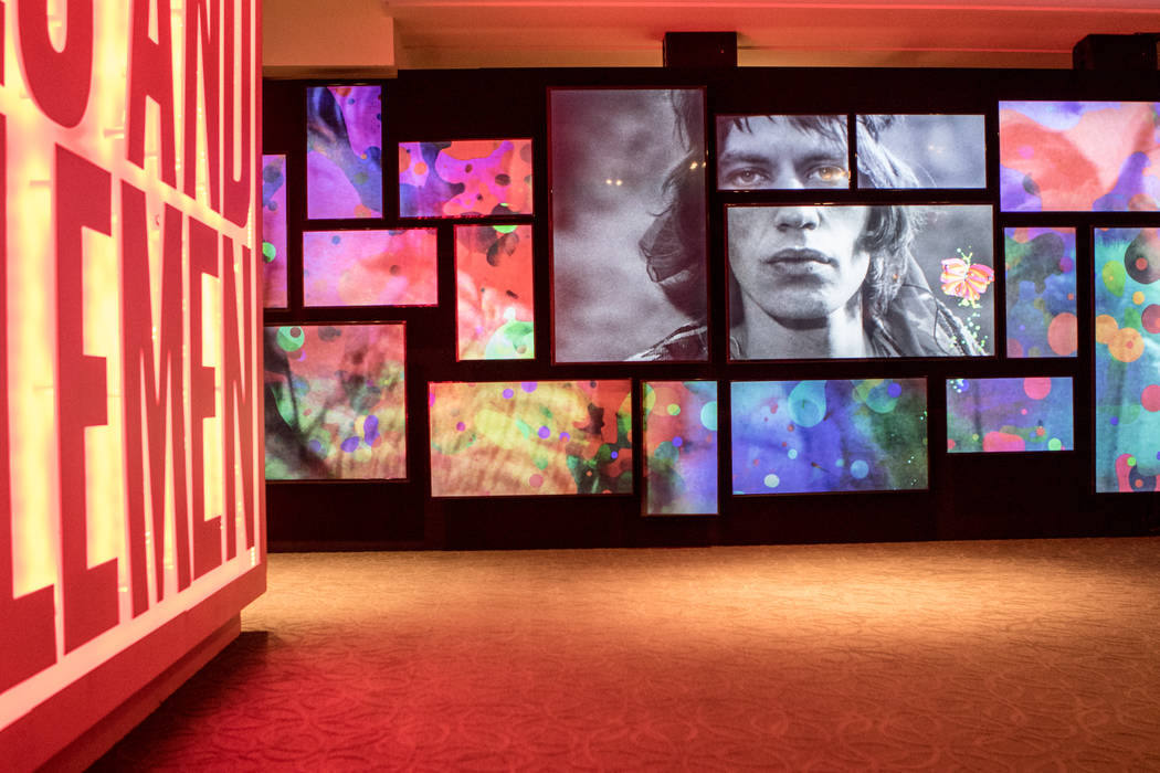 A wall of archival video footage of the Rolling Stones at the exhibit at the Palazzo hotel-casino on Wednesday, Sept. 20, 2017, in Las Vegas. Morgan Lieberman Las Vegas Review-Journal