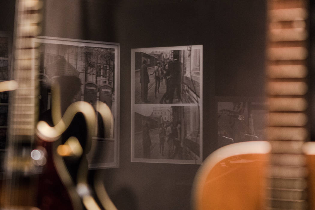 The reflection of photos of the Rolling Stones  at the exhibit at the Palazzo hotel-casino on Wednesday, Sept. 20, 2017, in Las Vegas. Morgan Lieberman Las Vegas Review-Journal