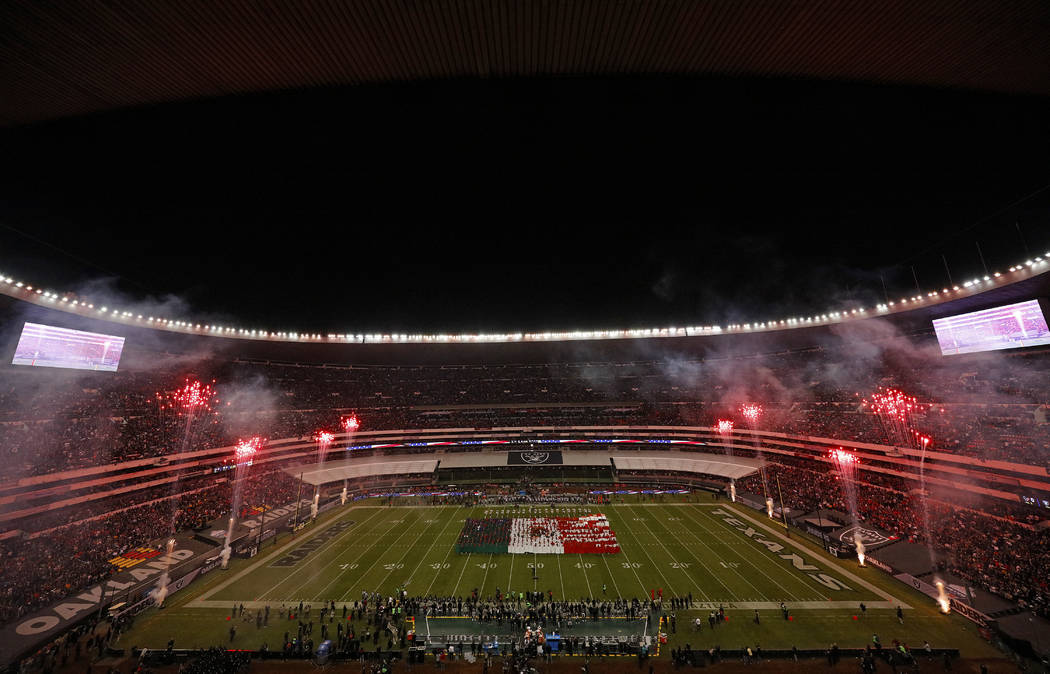A general view of Estadio Azteca Stadium is seen during the singing of the national Anthem prior to an NFL football game between the Houston Texans against the Oakland Raiders on Monday, Nov. 21,  ...