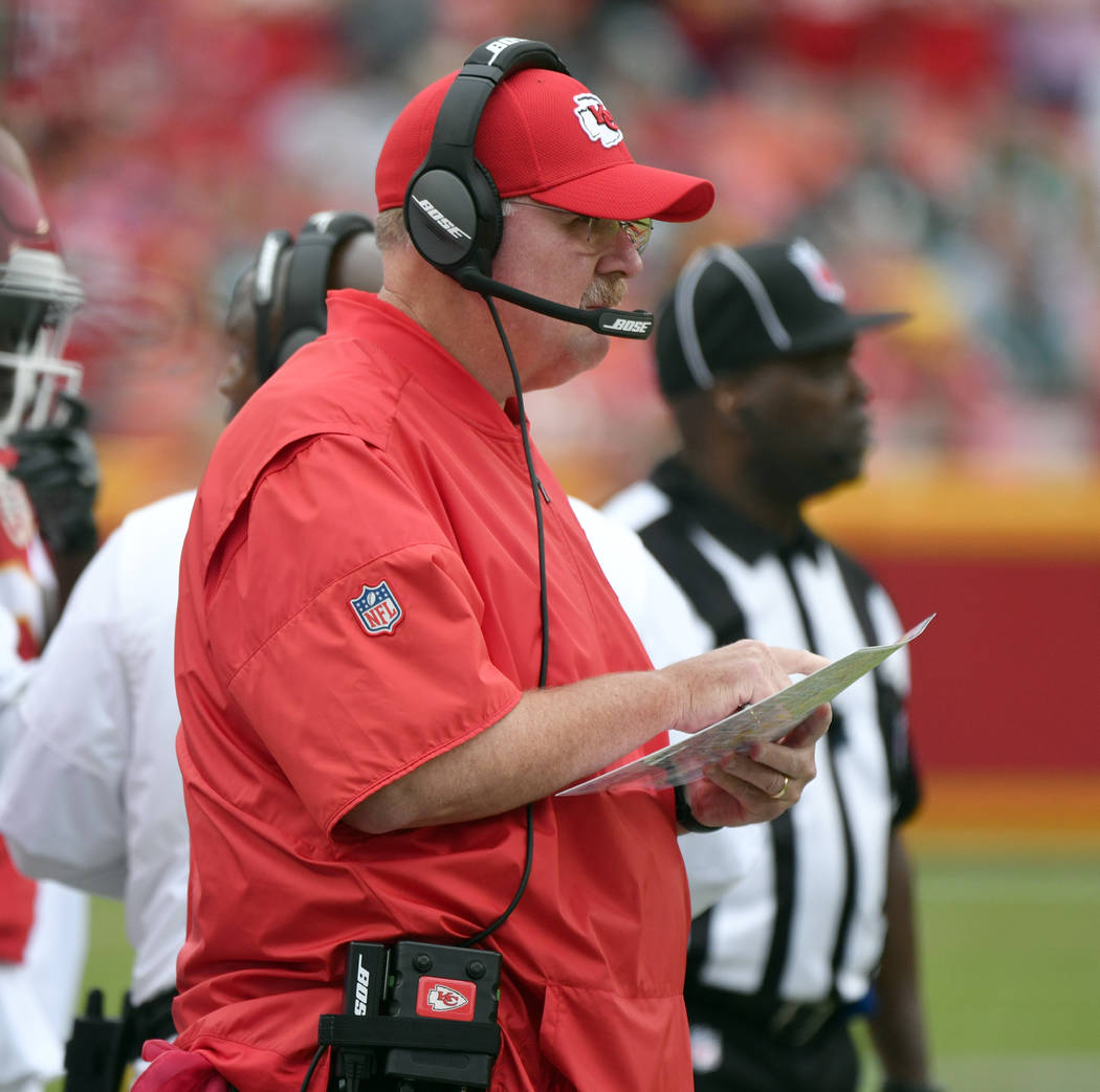Kansas City Chiefs head coach Andy Reid follows the first half of an NFL football game against the Philadelphia Eagles in Kansas City, Mo., Sunday, Sept. 17, 2017. (AP Photo/Ed Zurga)