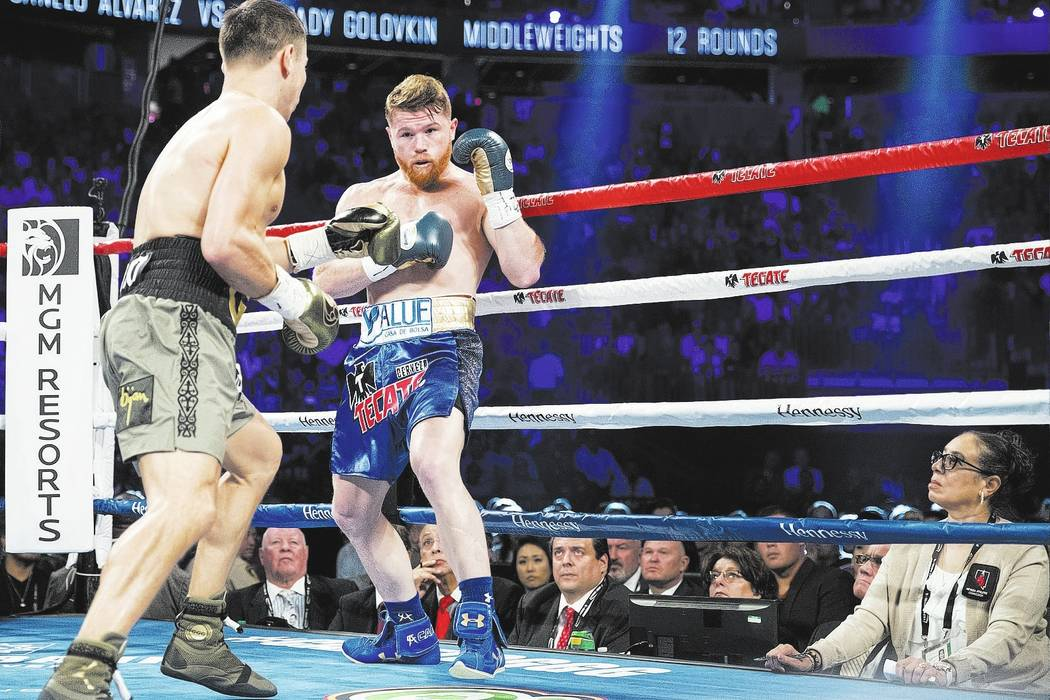 Judge Adalaide Byrd, right, watches Gennady GGG Golovkin, left, and Saul Canelo Alvarez fight. Erik Verduzco Las Vegas Review-Journal @Erik_Verduzco