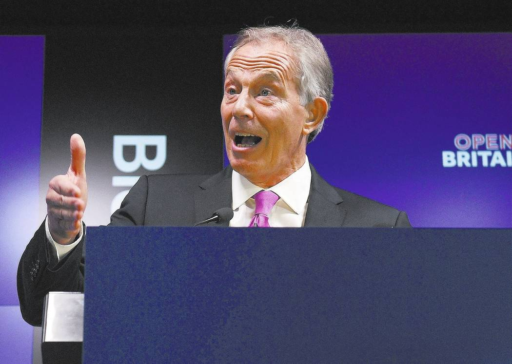 Former British Prime Minister Tony Blair. (Victoria Jones/PA via AP)