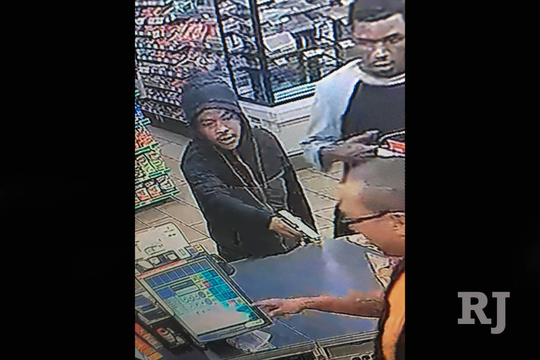 Police are searching for two men who robbed a convenience store on the 3600 block of Indios Avenue Monday night. (Las Vegas Metropolitan Police Department)