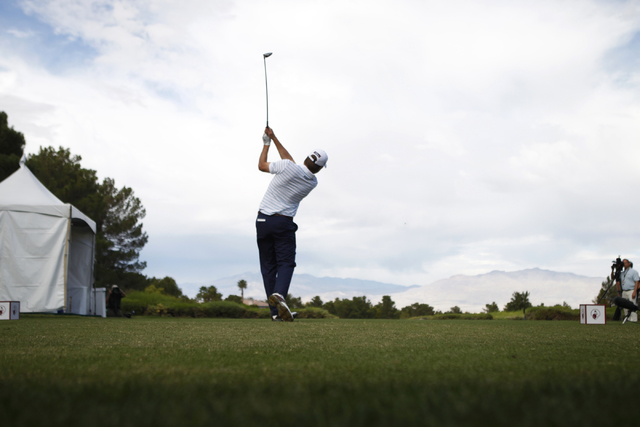 Ben Martin hits a drive ball from the 10th tee in the third round of the Shriners Hospitals for Children Open golf tournament at TPC Summerlin, 1700 Village Center Circle, in Las Vegas Saturday, O ...