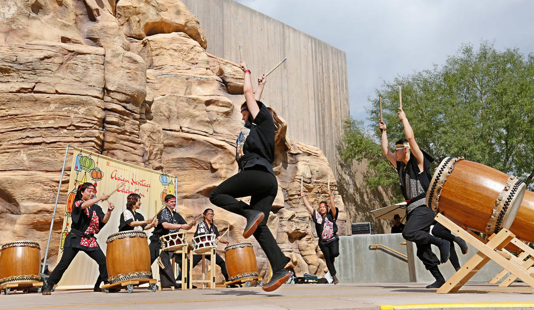 Members from Las Vegas Kaminari Taiko perform during the Asian Heritage Celebration at the Springs Preserve in Las Vegas, Saturday, Sept. 23, 2017. Chitose Suzuki Las Vegas Review-Journal @chitose ...
