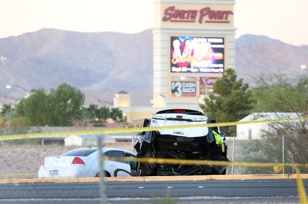 Las  Vegas police investigate a fatal crash involving a Las Vegas police patrol vehicle near Las Vegas Boulevard South and Serene Avenue on Wednesday, Sept. 20, 2017. (Bizuayehu Tesfaye/Las Vegas  ...