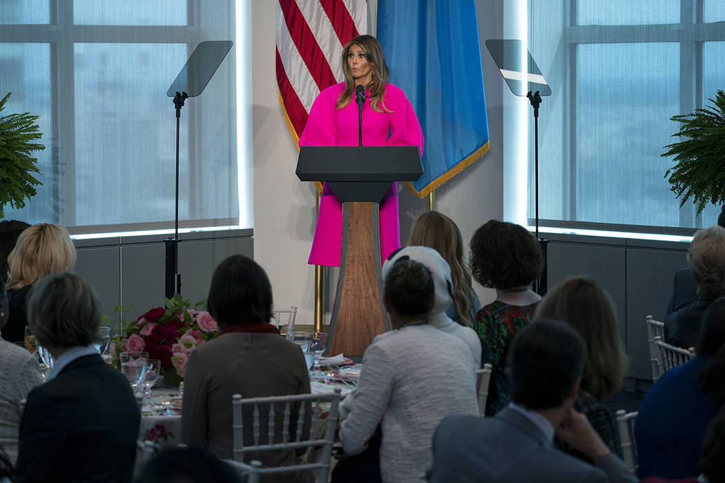 First lady Melania Trump addresses a luncheon at the U.S. Mission to the United Nations in New York Wednesday, Sept. 20, 2017.  Trump called on world leaders to come together for the good of their ...