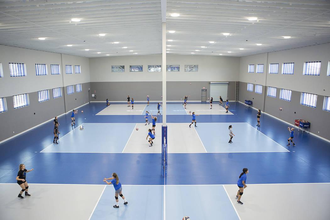 Volleyball players practice at the new Vegas Aces Training Center on Friday, Sept. 22, 2017, in Henderson.  Bridget Bennett Las Vegas Review-Journal @bridgetkbennett