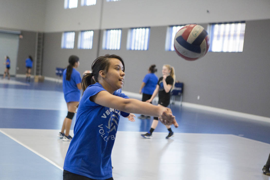 Volleyball player Kiara Milar, center, practices at the new Vegas Aces Training Center on Friday, Sept. 22, 2017, in Henderson.  Bridget Bennett Las Vegas Review-Journal @bridgetkbennett