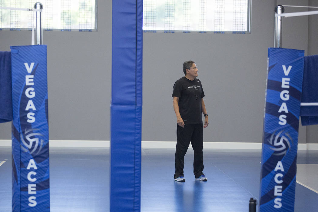 Ruben Herrera coaches a practice at the new Vegas Aces Training Center on Friday, Sept. 22, 2017, in Henderson.  Bridget Bennett Las Vegas Review-Journal @bridgetkbennett