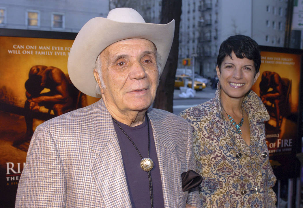 "Jake LaMotta and his fiance Denise arrive for the world premier of the critically acclaimed boxing drama ""Ring Of Fire: The Emile Griffith Story"" at the Beekman Theater in New York, April 13, 2005 ..."