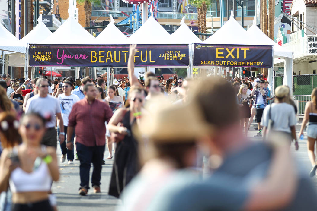 Attendees enter the festival grounds during the Life is Beautiful festival in downtown Las Vegas on Friday, Sept. 25, 2015. Chase Stevens/Las Vegas Review-Journal Follow @csstevensphoto