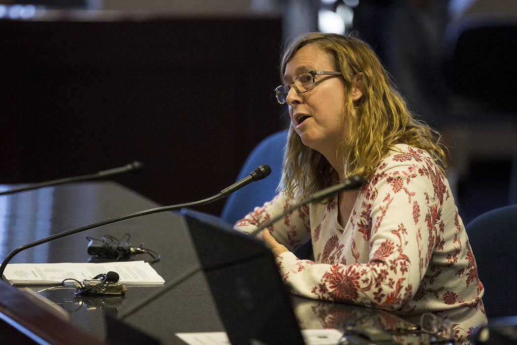 CCSD employee Autumn Tampa gives public comment during the first CCSD Community Budget Advisory Committeeʭeeting at Grant Sawyer State Office Building on Friday, Sept. 22, 2017, in Las Vegas ...