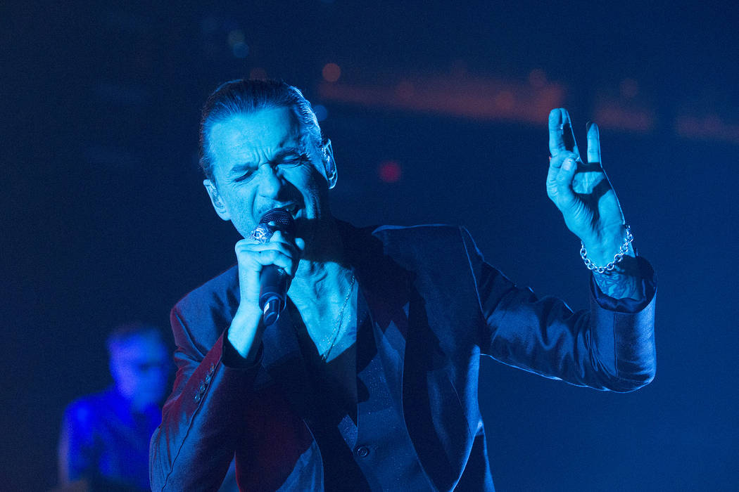 "Dave Gahan of the band Depeche Mode performs in concert during their ""Global Spirit Tour"" at the Capital One Arena on Thursday, Sept. 7, 2017, in Washington, D.C. (Photo by Owen  ..."