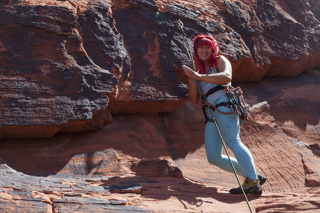 Irene Yee climbs in Red Rock Canyon in Las Vegas, Friday, Sept. 15, 2017. Rachel Aston Las Vegas Review-Journal @rookie__rae
