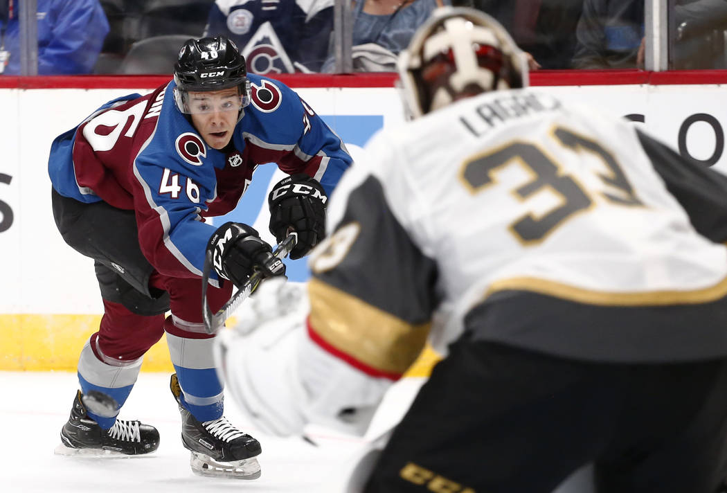 Colorado Avalanche center J.C. Beaudin takes a shot on goal against Las Vegas Golden Knights goalie Maxime Lagace (33) (46) during the first period of a preseason hockey game Tuesday, Sept. 19, 20 ...