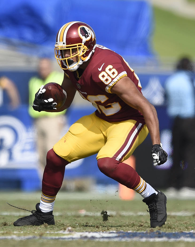Washington Redskins tight end Jordan Reed (86) in action during the second half of an NFL football game against the Los Angeles Rams Sunday, Sept. 17, 2017, in Los Angeles. (AP Photo/Kelvin Kuo)