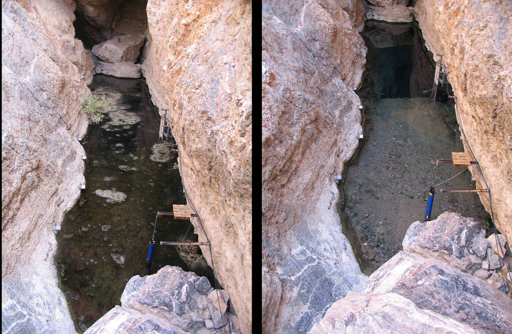 Before, left,  and after, right, photos of Devils Hole show the effects of the magnitude 8.1 earthquake that struck Southern Mexico on Sept. 8. The quake caused the water in the cavern to slosh, s ...