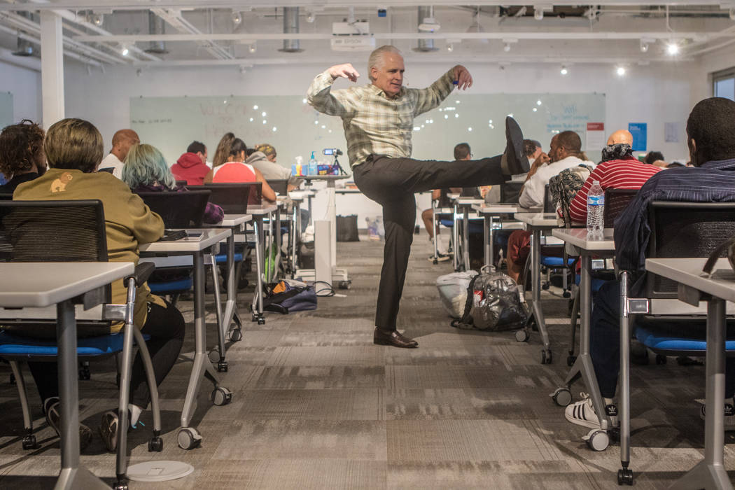 Tiger Todd, founder of Hero School, shows his warrior moves to the class at Hero School at RedFlint Experience Center on Saturday, Sept. 23, 2017, in Las Vegas. (Morgan Lieberman/Las Vegas Review- ...