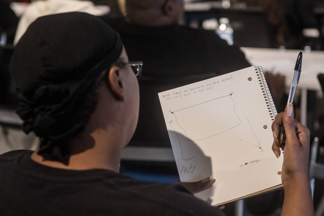 A Hero School student draws out a goals map at RedFlint Experience Center on Saturday, Sept. 23, 2017, in Las Vegas. (Morgan Lieberman/Las Vegas Review-Journal)
