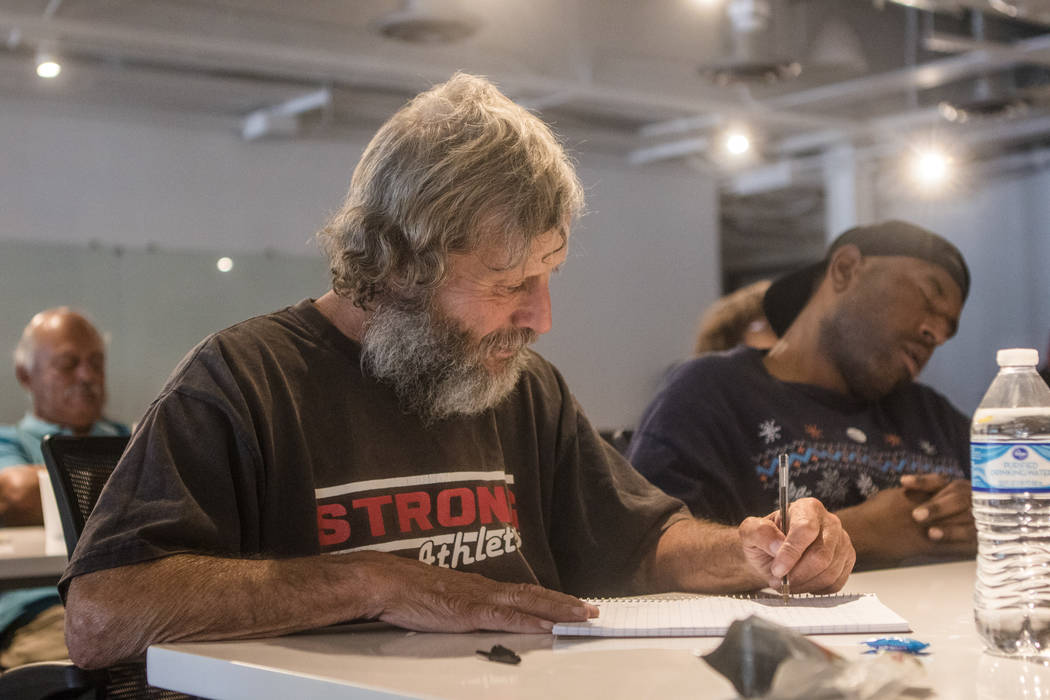 Eugene Braley works on his career goals during Hero School at RedFlint Experience Center on Saturday, Sept. 23, 2017, in Las Vegas. (Morgan Lieberman/Las Vegas Review-Journal)
