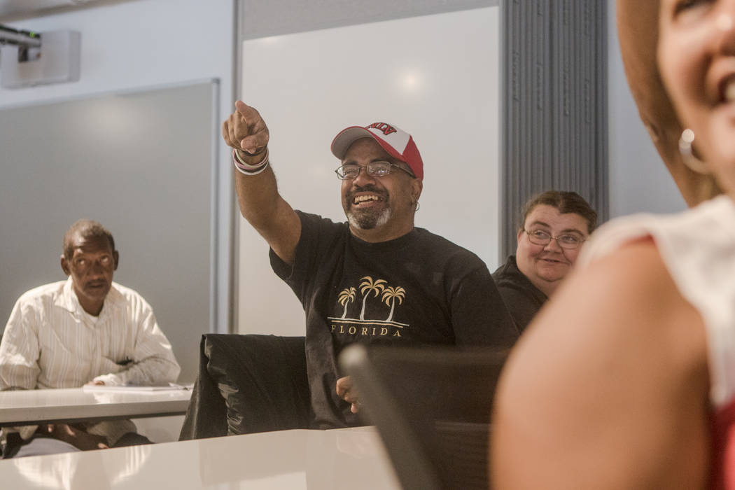 James Corbin Jr. answers a trivia question at Hero School at RedFlint Experience Center on Saturday, Sept. 23, 2017, in Las Vegas. RedFlint is a business incubator, a startup accelerator and a com ...