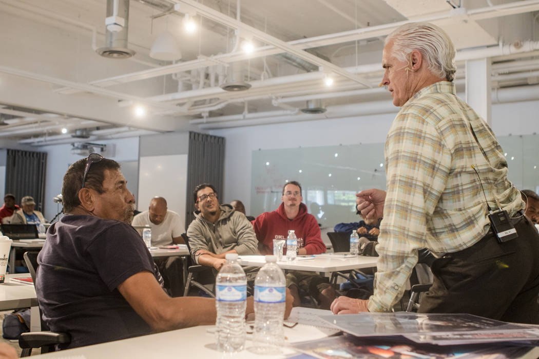 Tiger Todd, founder of Hero School, right, speaks to a class at Hero School at RedFlint Experience Center on Saturday, Sept. 23, 2017, in Las Vegas. (Morgan Lieberman/Las Vegas Review-Journal)
