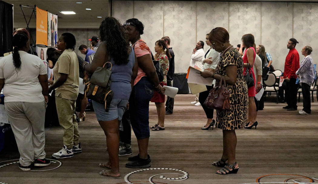 Job seekers in line for one of the exhibitor booths at Palace Station hotel-casino during the Las Vegas Review-Journal's job fair, Wednesday, Sept. 20, 2017. Gabriella Benavidez Las Vegas Review-J ...