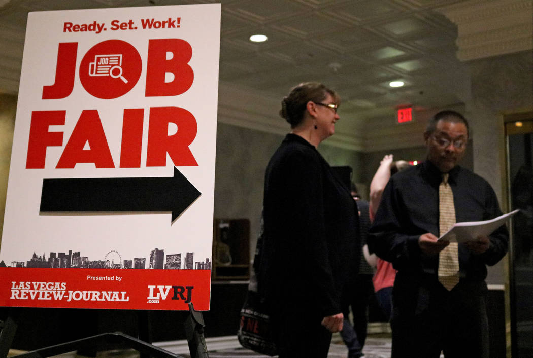 A sign for the Las Vegas Review-Journal's job fair at Palace Station hotel-casino, Wednesday, Sept. 20, 2017. Gabriella Benavidez Las Vegas Review-Journal @latina_ish