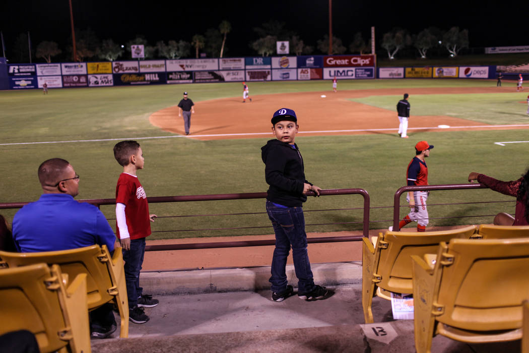 Johnny Cruz, 7, stands during a baseball game between the Naranjeros de Hermosillo and Aguilas de Mexicali at the Cashman Field in Las Vegas, Friday, Sept. 22, 2017. Joel Angel Juarez Las Vegas Re ...