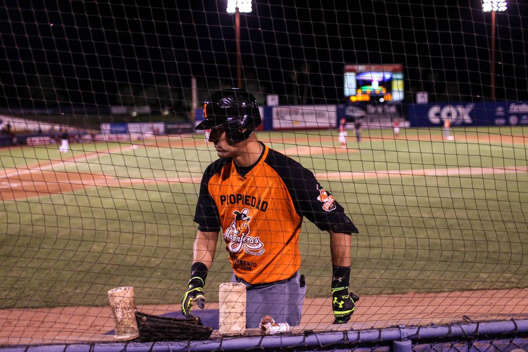 Naranjeros de Hermosillo's Luis Alfonso Garcia (18) prepares to bat during a baseball game against the Aguilas de Mexicali at the Cashman Field in Las Vegas, Friday, Sept. 22, 2017. Joel Angel Jua ...