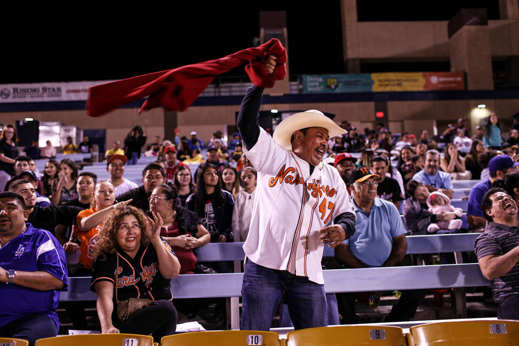 Ramses Palma celebrates during a baseball game between the Naranjeros de Hermosillo and Aguilas de Mexicali at the Cashman Field in Las Vegas, Friday, Sept. 22, 2017. Joel Angel Juarez Las Vegas R ...