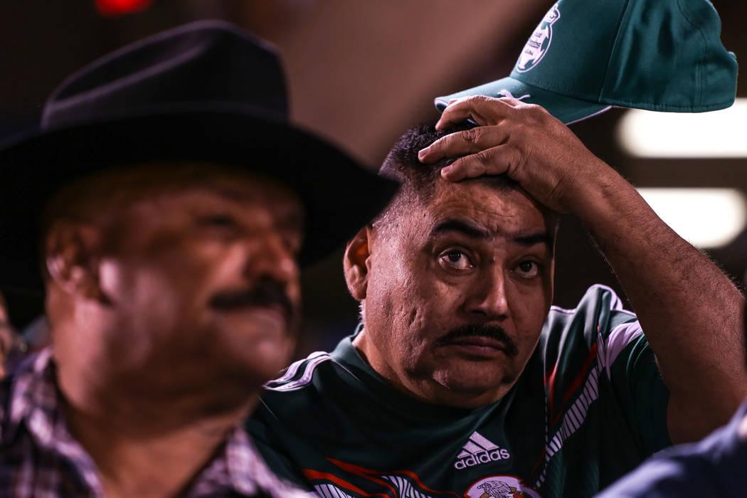 Jose Garduno, right, watches a baseball game between the Naranjeros de Hermosillo and Aguilas de Mexicali at the Cashman Field in Las Vegas, Friday, Sept. 22, 2017. Joel Angel Juarez Las Vegas Rev ...
