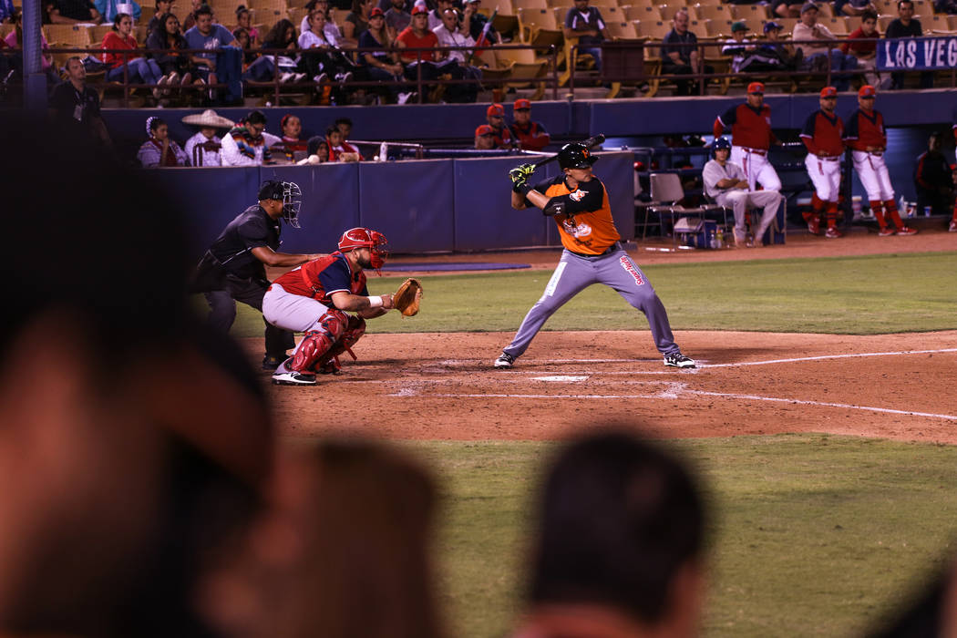 Naranjeros de Hermosillo's Luis Alfonso Garcia (18) prepares to swing during a baseball game against the Aguilas de Mexicali at the Cashman Field in Las Vegas, Friday, Sept. 22, 2017. Joel Angel J ...