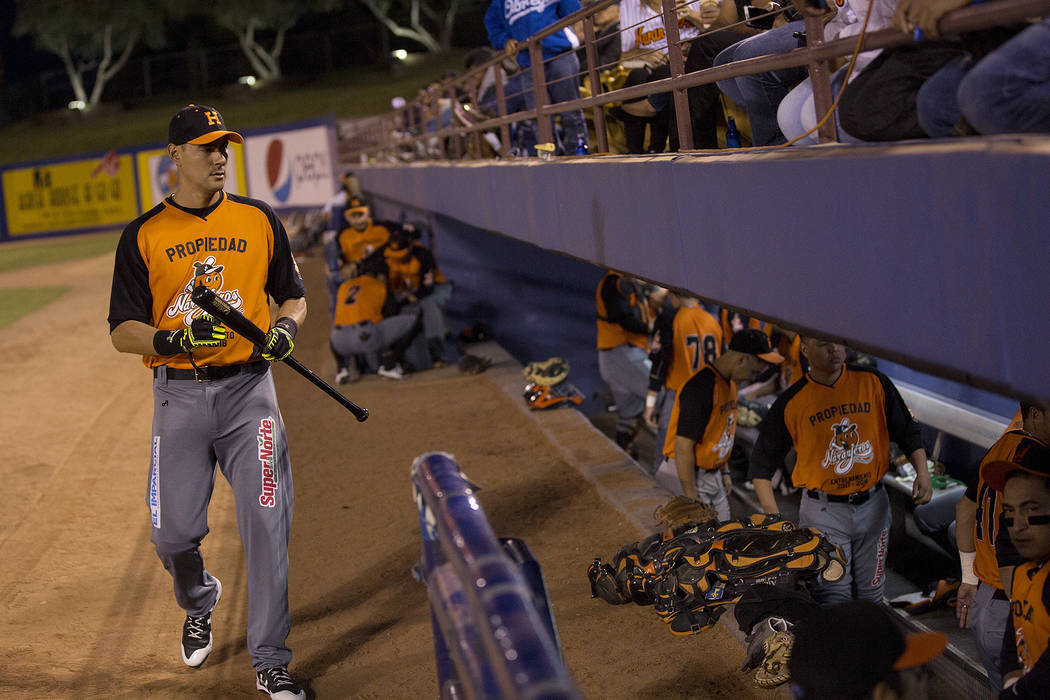 Hermosillo's Luis Garcia walks to the dugout prior to the start of the game against Mexicali at Cashman Field on Saturday, Sept. 23, 2017, in Las Vegas.  Bridget Bennett Las Vegas Review-Journal @ ...