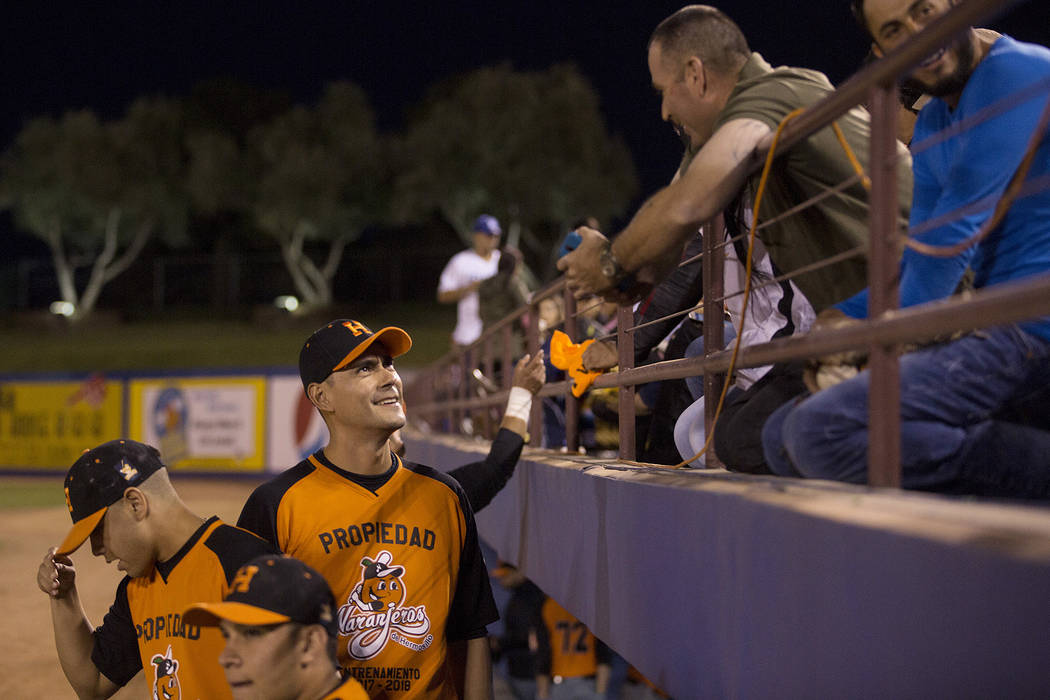 Hermosillo's Luis Garcia talks with people in the stands prior to the start of the game against Mexicali at Cashman Field on Saturday, Sept. 23, 2017, in Las Vegas.  Bridget Bennett Las Vegas Revi ...