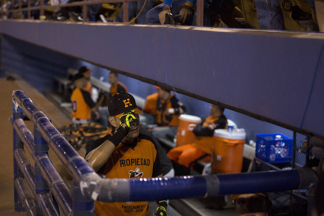 Hermosillo's Luis Garcia walks into the dugout prior to the start of the game against Mexicali at Cashman Field on Saturday, Sept. 23, 2017, in Las Vegas.  Bridget Bennett Las Vegas Review-Journal ...