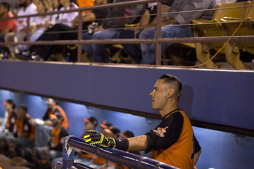 Hermosillo's Luis Garcia watches his teammates during the first inning of the game against Mexicali at Cashman Field on Saturday, Sept. 23, 2017, in Las Vegas.  Bridget Bennett Las Vegas Review-Jo ...