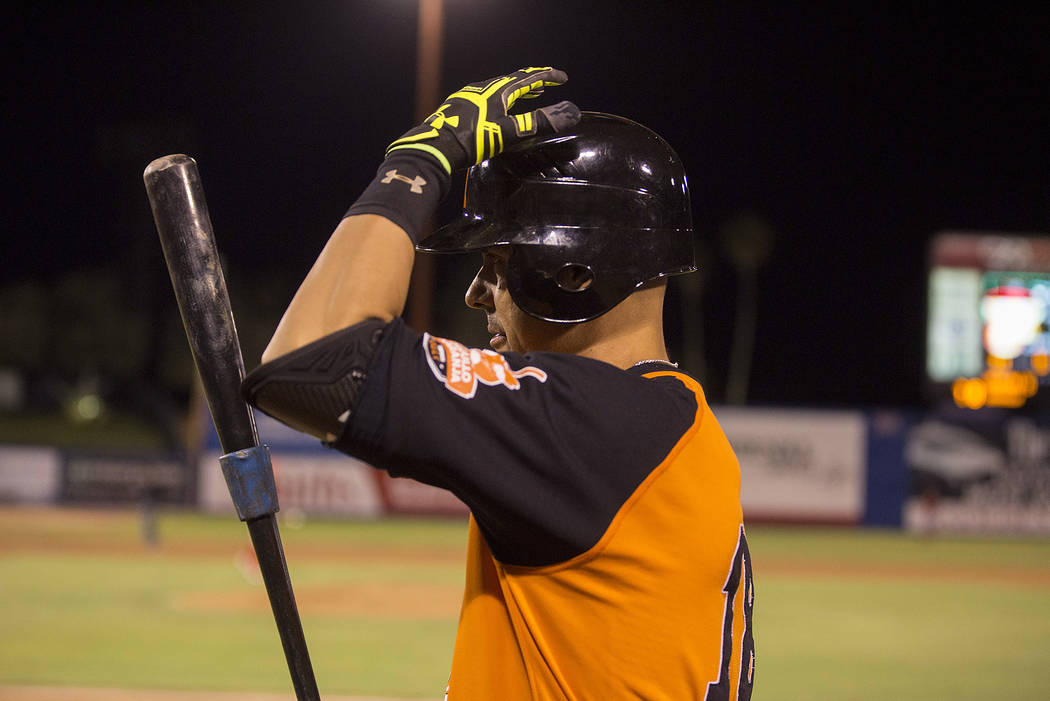 Hermosillo's Luis Garcia walks on to the field to bat during the first inning of the game against Mexicali at Cashman Field on Saturday, Sept. 23, 2017, in Las Vegas.  Bridget Bennett Las Vegas Re ...