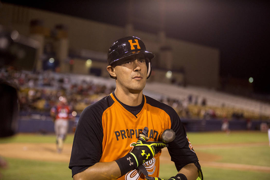 Hermosillo's Luis Garcia walks off the filed, before he got to bat, during the first inning of the game against Mexicali at Cashman Field on Saturday, Sept. 23, 2017, in Las Vegas.  Bridget Bennet ...