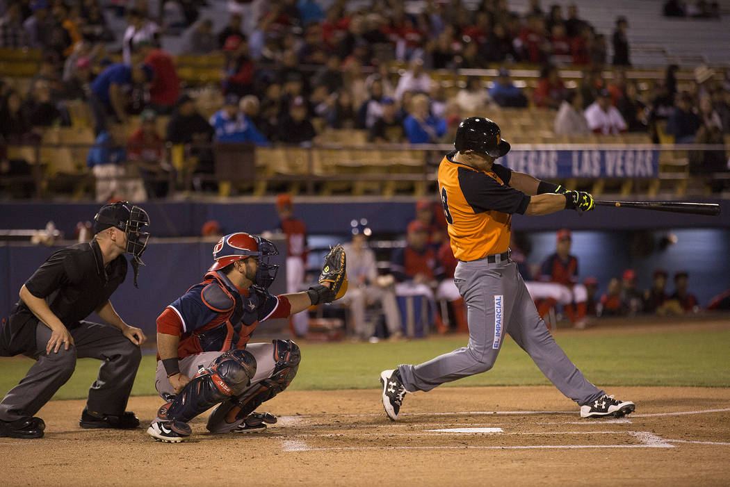 Hermosillo's Luis Garcia swings at a pitch during the second inning of the game against Mexicali at Cashman Field on Saturday, Sept. 23, 2017, in Las Vegas.  Bridget Bennett Las Vegas Review-Journ ...