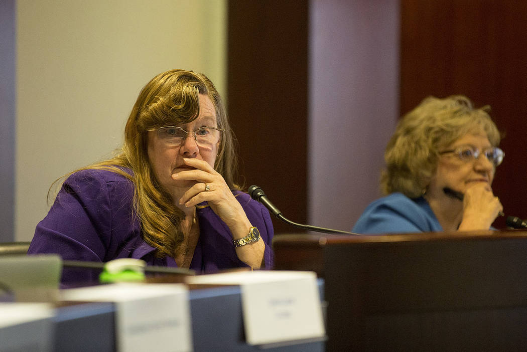 Co-chair and assemblywoman Maggie Carlton listens to introductions during the first CCSD Community Budget Advisory Committeemeeting at Grant Sawyer State Office Building on Friday, Sept. 22, ...