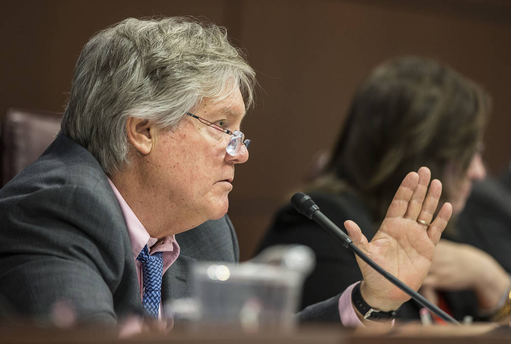 In this Feb. 7, 2017 file photo, Sen. Tick Segerblom, D-Nev., addresses attendees at the first meeting of the Senate Judiciary Committee on the second day of the Nevada Legislative session at the  ...