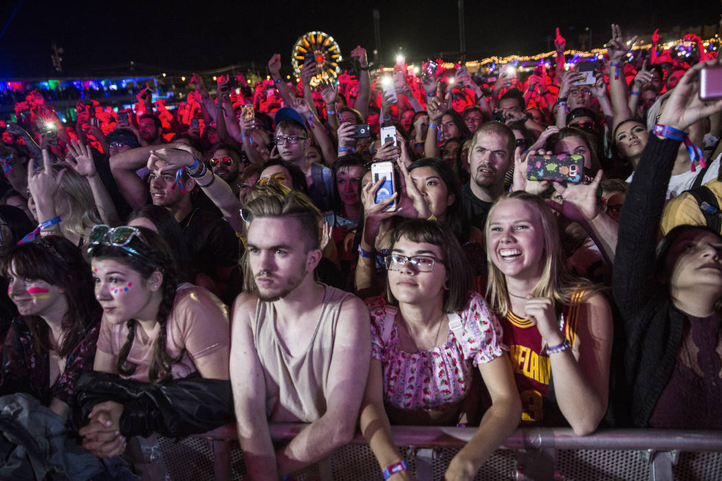 Fans of Schoolboy Q react to the entrance of the rapper on the Downtown Stage during the second day of the Life is Beautiful music and arts festival on Saturday, September 23, 2017, in Las Vegas.  ...
