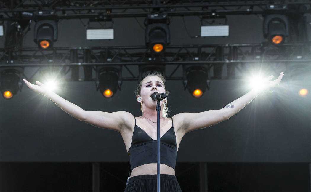 Broods frontwoman Georgia Nott performs during the second day of the Life is Beautiful music and arts festival on Saturday, September 23, 2017, in Las Vegas. Benjamin Hager Las Vegas Review-Journa ...