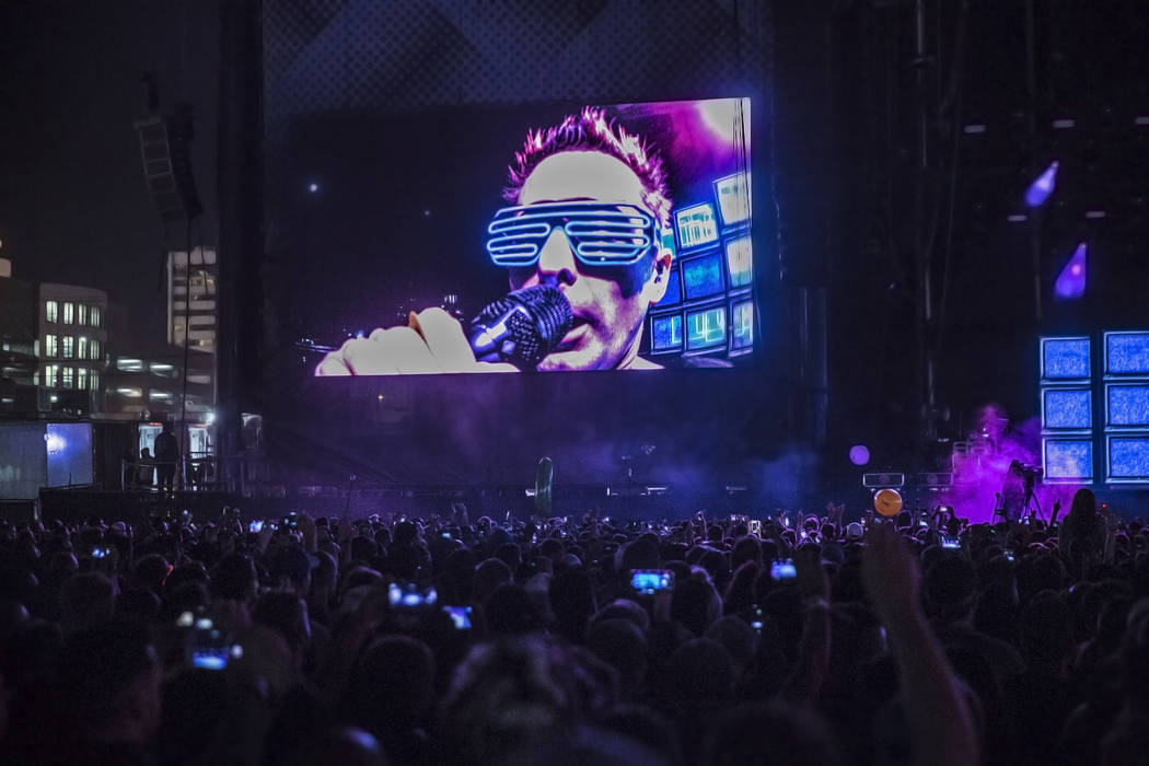 Muse frontman Matt Bellamy performs on the Downtown Stage during the second day of the Life is Beautiful music and arts festival on Saturday, September 23, 2017, in Las Vegas. Benjamin Hager Las V ...