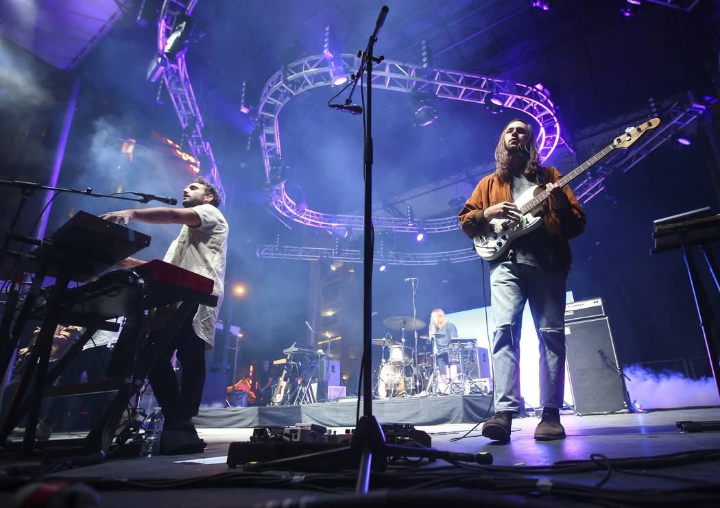 Kelcey Ayer, left, and Nik Ewing of Local Natives perform at the Huntridge stage during the second day of the Life is Beautiful festival in downtown Las Vegas on Saturday, Sept. 23, 2017. Chase St ...